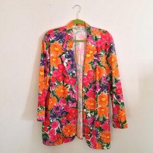 Vintage Retro 80s 90s Floral Blazer Flower Jacket